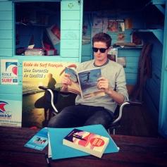 Nat hard at work in the surf cabana
